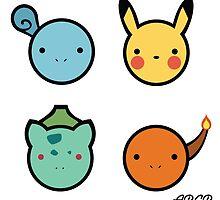 Cute Starter Pokemon by Adriana Cruz Berdecia