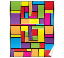 Bright Color Blocks Mondrian Inspired Poster