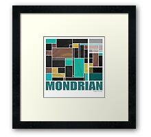 Mondrian Teal Brown Black  Framed Print