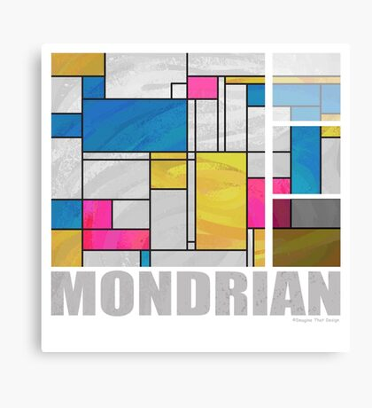 Mondrian Yellow Pink Blue  Canvas Print