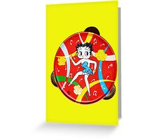 Vintage Betty Boop Tambourine (on yellow) Greeting Card