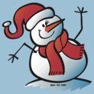 Snowman Waving Hello by Zoo-co