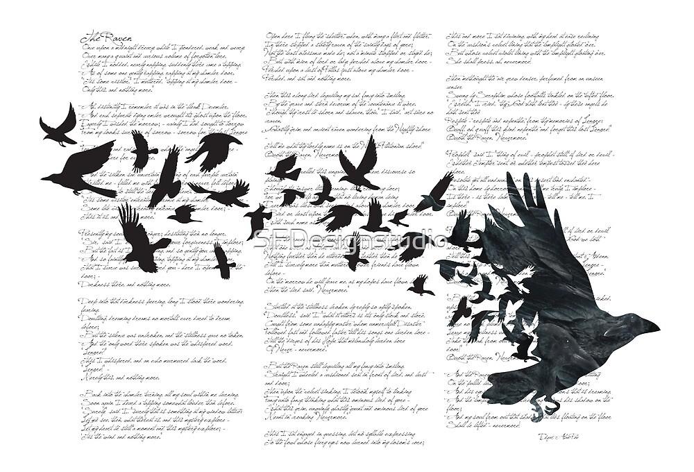 Vintage Style Print with Poem Text Edgar Alan Poe: Edgar Alan Crow by SFDesignstudio