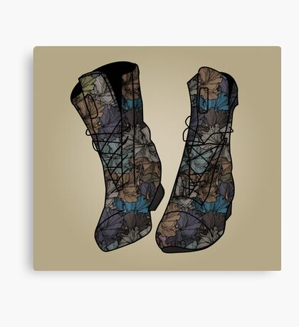Floral Boots Canvas Print