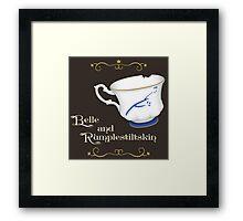 Belle and Rumplestiltskin's cup Framed Print