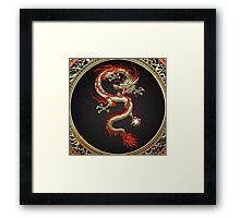 Golden Chinese Dragon Fucanglong on Black  Framed Print