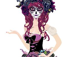 Sugar Skull Girl in Flower Crown 4 by AnnArtshock