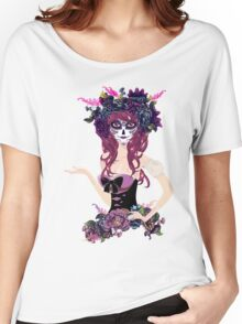 Sugar Skull Girl in Flower Crown 4 Women's Relaxed Fit T-Shirt