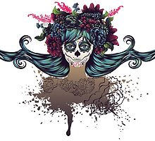 Sugar Skull Girl in Flower Crown 2 by AnnArtshock