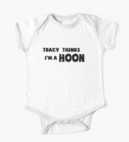 'Tracy Thinks I'm a Hoon' - ACA Tracy Grimshaw Gag sticker / Tee - Black One Piece - Short Sleeve