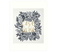C'est la Vie – Grey & Gold Art Print