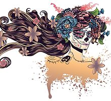 Sugar Skull Girl in Flower Crown 3 by AnnArtshock