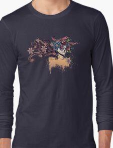 Sugar Skull Girl in Flower Crown 3 Long Sleeve T-Shirt