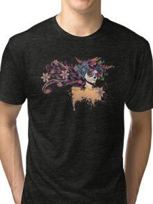 Sugar Skull Girl in Flower Crown 3 Tri-blend T-Shirt