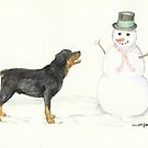 Rottweiler Meets Snowman by Charlotte Yealey
