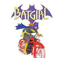 Batgirl on Batbike Photographic Print