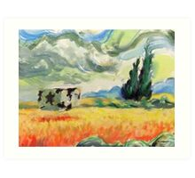 Coob in wheatfield with cypresses  Art Print
