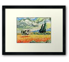 Coob in wheatfield with cypresses  Framed Print