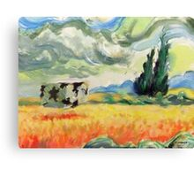Coob in wheatfield with cypresses  Canvas Print