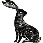 Hare Lino Print by Hazel Partridge