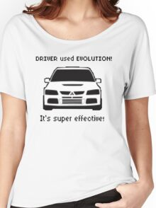 Mitsubishi Evo used Evolution It was Super Effective! Pokemon Gag Sticker / Tee - Black Women's Relaxed Fit T-Shirt