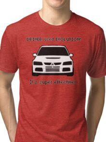 Mitsubishi Evo used Evolution It was Super Effective! Pokemon Gag Sticker / Tee - Black Tri-blend T-Shirt