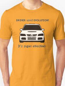 Mitsubishi Evo used Evolution It was Super Effective! Pokemon Gag Sticker / Tee - Black Unisex T-Shirt