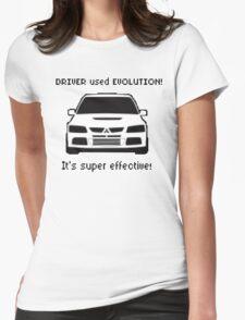 Mitsubishi Evo used Evolution It was Super Effective! Pokemon Gag Sticker / Tee - Black Womens Fitted T-Shirt