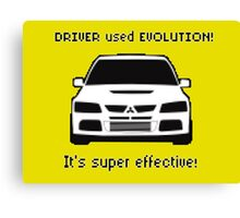 Mitsubishi Evo used Evolution It was Super Effective! Pokemon Gag Sticker / Tee - Black Canvas Print