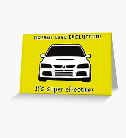 Mitsubishi Evo used Evolution It was Super Effective! Pokemon Gag Sticker / Tee - Black Greeting Card