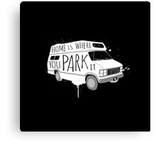Home is Where You Park It - White Canvas Print