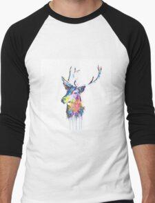 Cool awesome deer head colorful vibrant watercolors  Men's Baseball ¾ T-Shirt