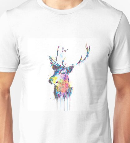 Cool awesome deer head colorful vibrant watercolors  Unisex T-Shirt