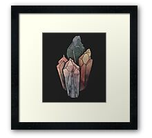 Dark Watercolor Crystals Framed Print