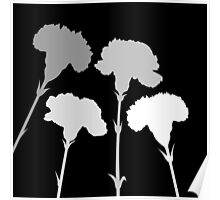 Carnation Silhouettes in Monochrome Poster