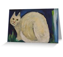White Cat in a Midnight Garden Greeting Card