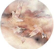 Pastel Origami Birds by byOli