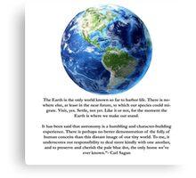 Piece of Pale Blue Dot Quote  Canvas Print