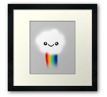 Happy Kawaii Rainbow Cloud Framed Print