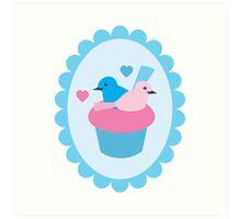 Blue wren cupcakes Art Print