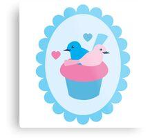 Blue wren cupcakes Metal Print