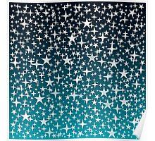 Silver Stars on Dark Blue Sky Background Poster