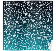 Silver Stars on Dark Blue Sky Background Poster
