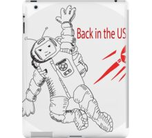 Space poster. Cosmonaut in space suit and  sputnik. iPad Case/Skin