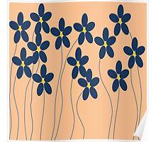 Flowers in orange and blue Poster