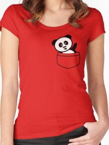 Pocket panda Women's Fitted Scoop T-Shirt