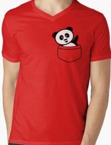 Pocket panda Mens V-Neck T-Shirt
