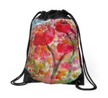 poppies - pink  Drawstring Bag