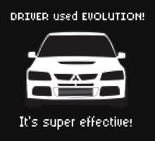 Mitsubishi Evo used Evolution It was Super Effective! Pokemon Gag Sticker / Tee - White One Piece - Short Sleeve