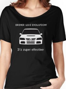 Mitsubishi Evo used Evolution It was Super Effective! Pokemon Gag Sticker / Tee - White Women's Relaxed Fit T-Shirt